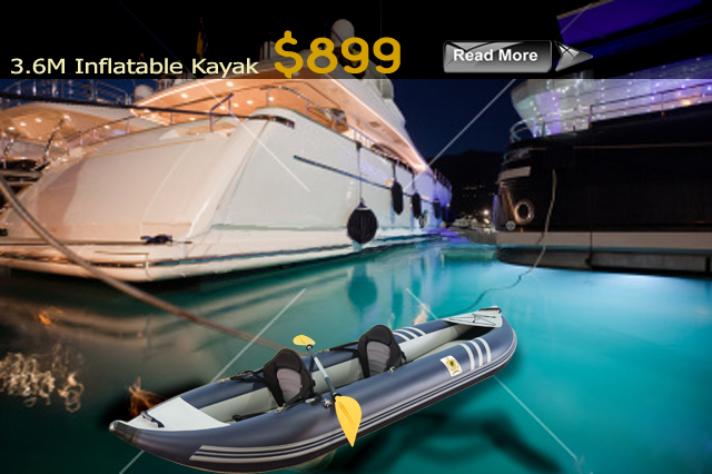 Length 3.6M Kayak 2 Seater Floor Inflatable Air Internal Floor Material Marine PVC 1100 Denier Transom Bow Nose Keel Inflatable Air Floor with Fin Seams 4 Layer Reinforced PVC...